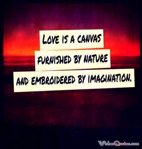 Love is a canvas furnished by nature and embroidered by imagination