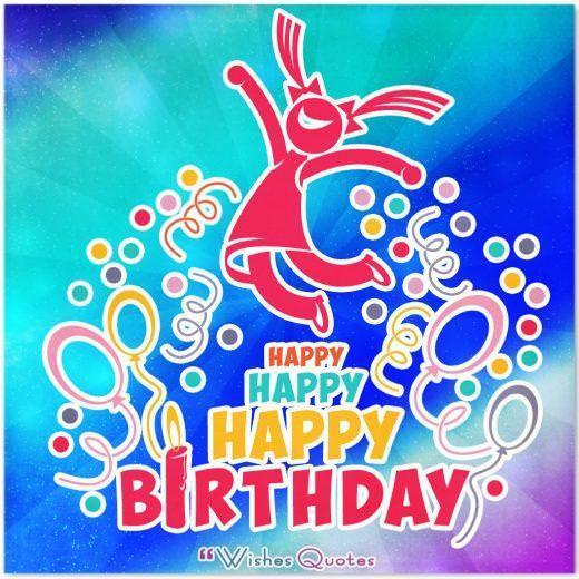 Colourfull card with Happy Happy Happy Birthday