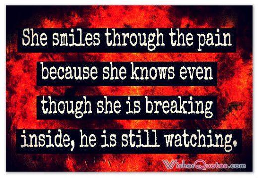 She smiles through the pain