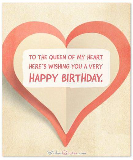 Birthday Wishes for Wife: Queen of my heart happy birthday