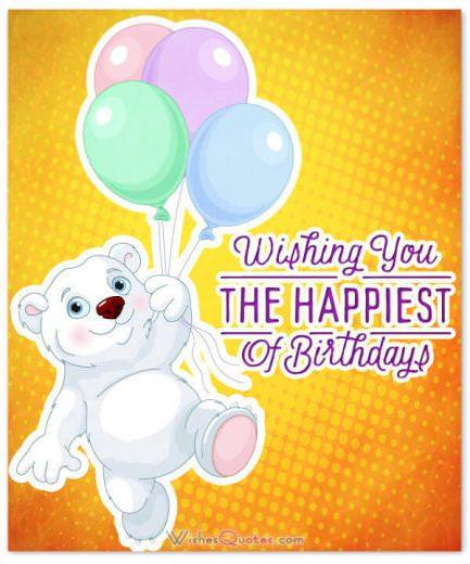 Birthday card with bear and balloons
