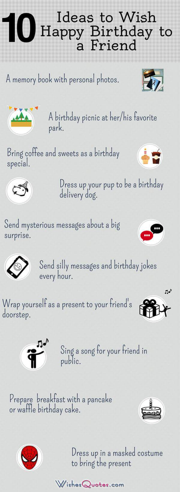 Infographic - 10 Ideas to Wish Happy Birthday to a Friend