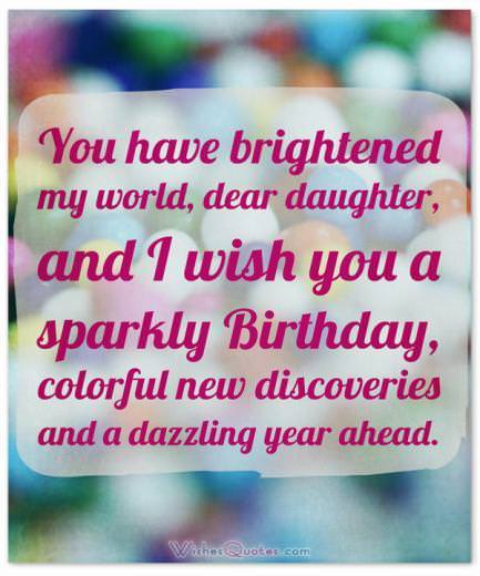 Adorable Happy Birthday Wishes for Daughter. Sparkly Birthday Colorful New Discoveries