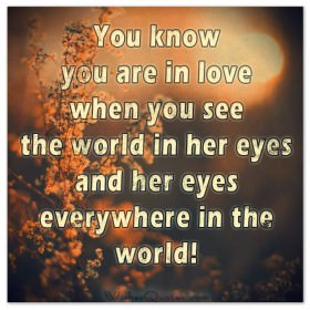 You know you are in love when you see the world in her eyes and her eyes everywhere in the world!