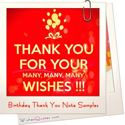 Birthday Thank You Note Sample Photo