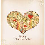 Happy valentines day card floral heart