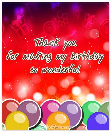 Thank You Message for Birthday Party