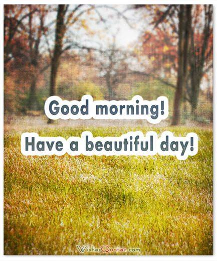 Good morning! Have a beautiful day!