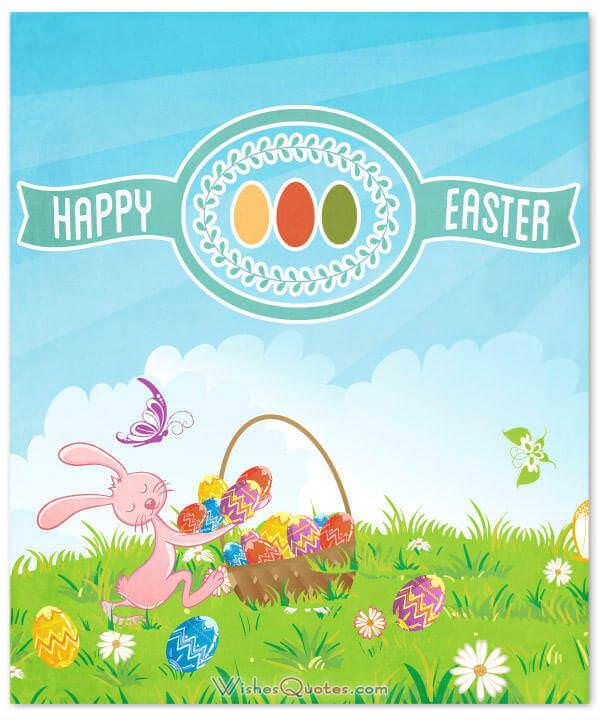 Happy Easter. Cute happy Easter card with bunny and many eggs.
