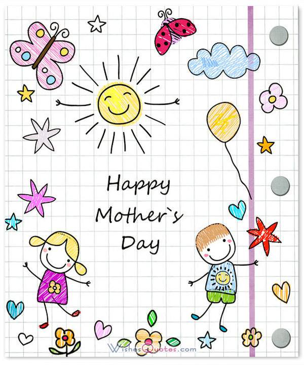 happy-mothers-day-kids-drawing. Happy Mother's Day Card