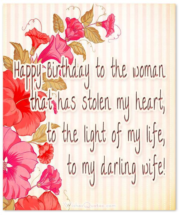 Birthday Wishes for Wife: Happy birthday to my darling wife