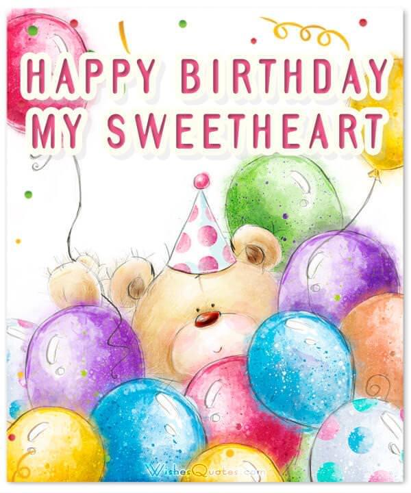 Happy Birthday my Sweetheart. Image with Romantic Birthday Wishes