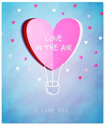 Love is in the air. I love you Card - Valentine's Day Messages