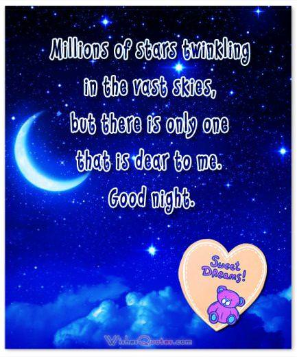 Image with Romantic Good Night Message for Girlfriend