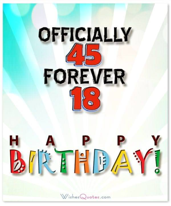 45th Birthday Card