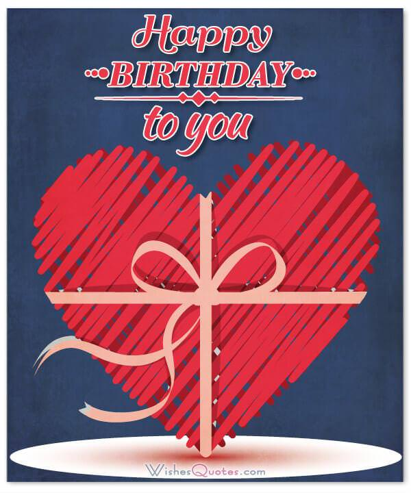 Happy Birthday with a big red heart - Romantic Birthday Wishes
