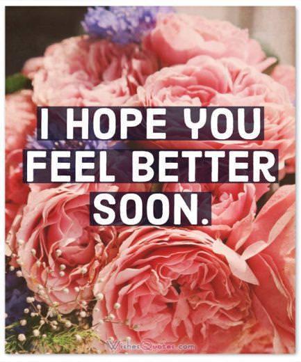 I hope you feel better soon.