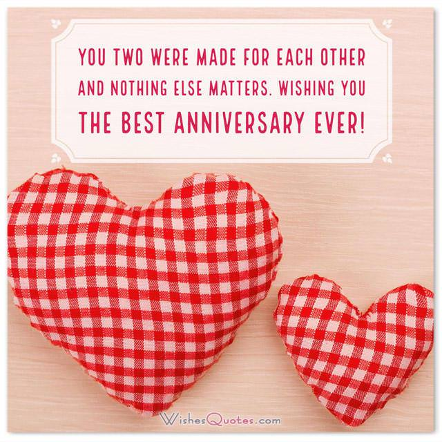 Anniversary Card for Friends: You two were made for each other and nothing else matters. Wishing you the best anniversary ever!
