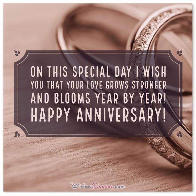 Anniversary Card for Friends: On this special day I wish you that your love grows stronger and blooms year by year! Happy Anniversary!