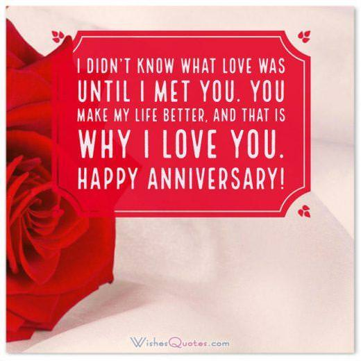 I didn't know what love was until I met you. You make my life better, and that is why I love you. Happy anniversary!