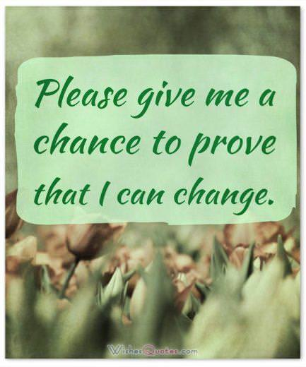 Apology Message: Please give me a chance to prove that I can change.