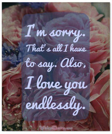 Sorry Message: I'm sorry. That's all I have to say. Also, I love you endlessly.