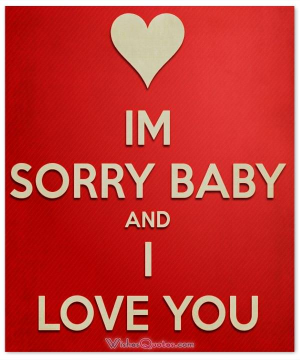 Sorry Message: I'm sorry baby and I love you