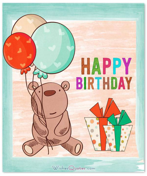 Adorable card with birthday wishes for baby boy, showing a teddy bear and balloons.