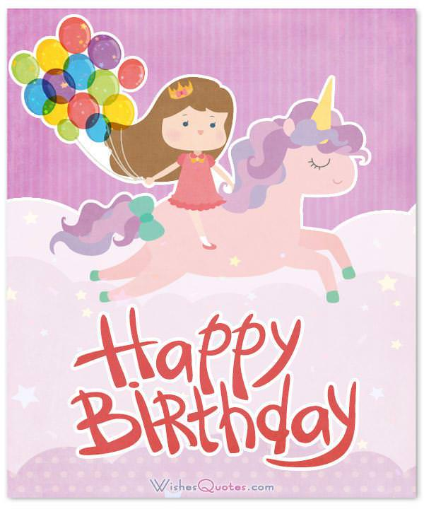 Cute card with birthday wishes, a unicorn and balloons. Happy Birthday, Little Girl!
