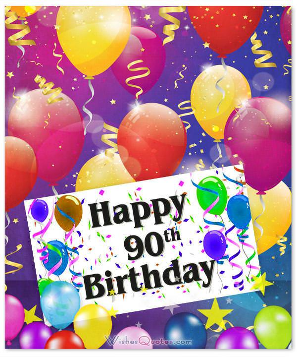 Happy 90th Birthday With Balloons - Free 90th Birthday Greetings and eCards