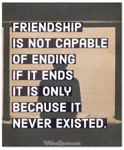 Friendship Is Not Capable Of Ending