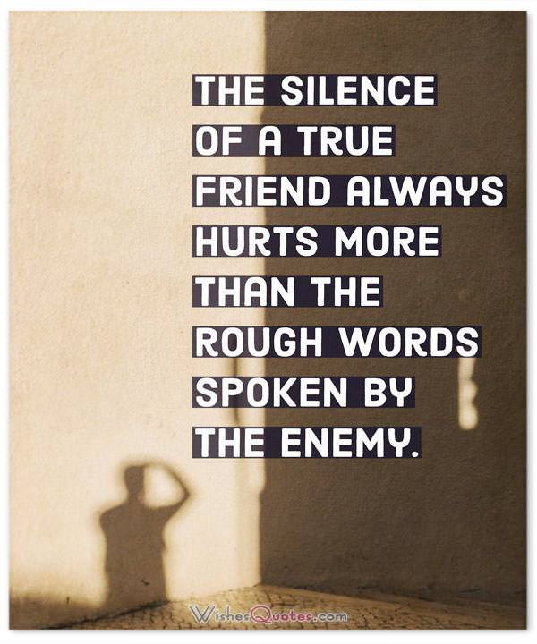 The Silence Of A True Friend Always Hurts