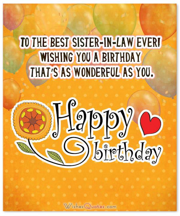 To The Best Sister In Law Birthdaty Card