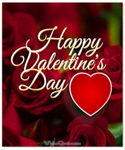Happy Valentines Day Cute Card With Roses