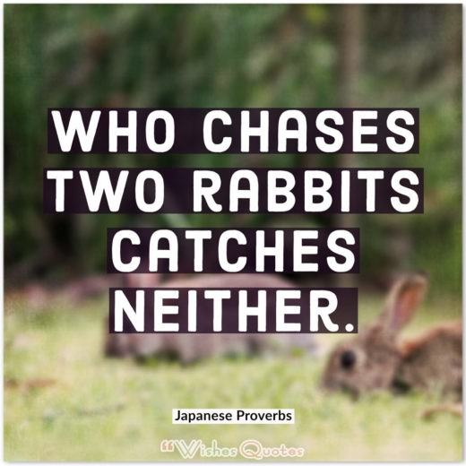 Japanese Proverbs - Who chases two rabbits catches neither.