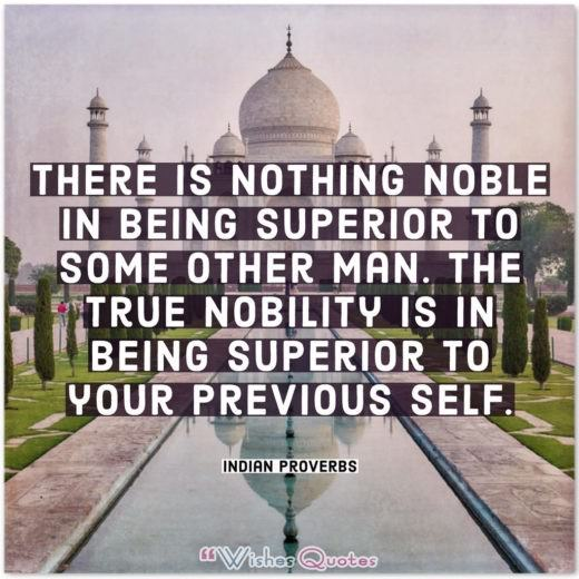 There is nothing noble in being superior to some other man. The true nobility is in being superior to your previous self.