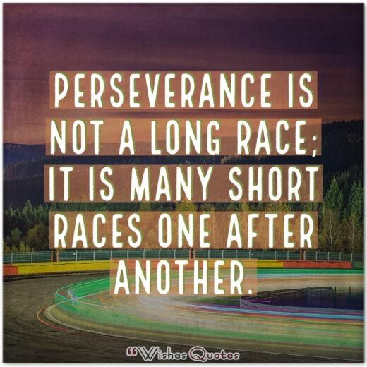 Perseverance is not a long race; it is many short races one after another.
